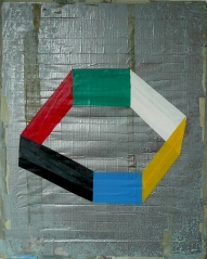 """Rodeo, tape on gaffer tape on stretcher,19 1/2"""" x 15 3/4"""", 2012,"""