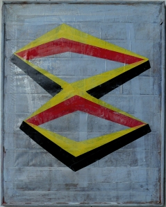 Electrical tape & acrylic paint on gaffer tape (on a stretcher), 2012