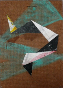 Self Anchored, 21 x 30 cm, acrylic, canvas and linen on found board, by Terry Greene, 2012