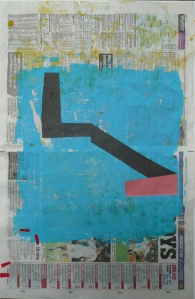 stressed from tension, compression, or sometimes both, 2012, acrylic, tape, sugar paper on recycled newsprint