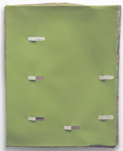 Jim Lee, Ultra-Green Peel-Back 2009, Oil on canvas over wood with wire and glue