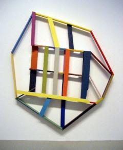 Window by Chris Johanson, wood and acrylic paint