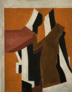 Composition with figures, 41 x 32.8 cm, Oil on wood, 1912-1913 by David Bomberg